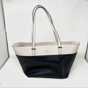 Kate spade black cream leather tote